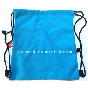 OEM producir impresión de logotipo personalizado de lienzo de algodón azul Mochila Bolsa Gymsac Drawstring fabricante