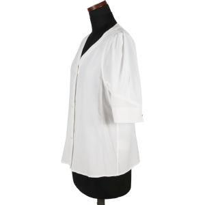 Senhoras Verão solta personalizado e temperamento confortável casual de moda de alta qualidade nova manga curta branco V-Camisa do pescoço