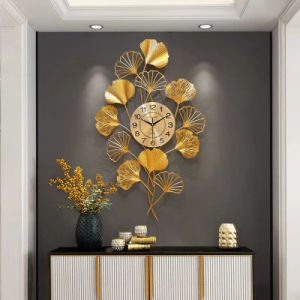 De façon créative de feuilles de ginkgo Horloge murale Horloge Individul luxueux silencieux
