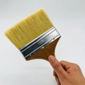 Pur Style plat poils naturels de peinture/brosse de peinture avec manche en bois