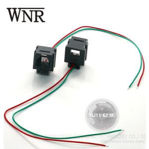 Plástico Wnre 6p4c RJ45 Conector RJ11 com fio