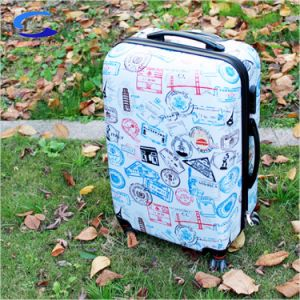 28'' de la TSA Bloqueo aprobado blanco pulido de aluminio ligero de superficie impresa Powerscope Mango de extensión de la PC Hardside Trolley maletas