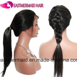 100% virgem cabelos lisos Brasileira Full Lace Cabelo Peruca