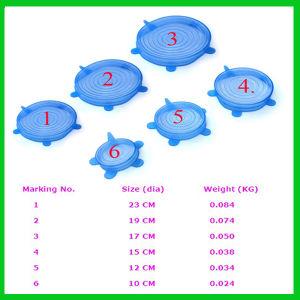 8 Flexibele grootte/de Deksels van de Zuiging van de Rek van het Silicone van de Opnieuw te gebruiken/Rang van het Voedsel