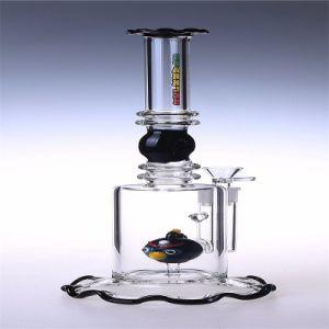 Los tubos de vidrio de alta calidad el hábito de fumar pipa de agua con el recipiente y el pájaro negro