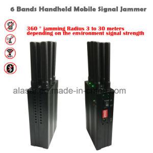 6 Mano de bandas de la señal Bluetooth Wifi Jammer Blocker/2G 3G 4G celular Jammer 6 bandas