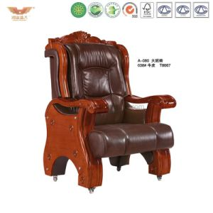 Oficina de cuero de lujo en madera silla ejecutiva (A-080)
