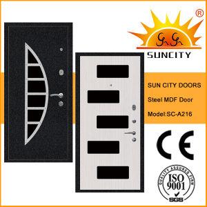 La sécurité extérieure de porte en bois MDF d'acier en PVC pour la maison (SC-A216)