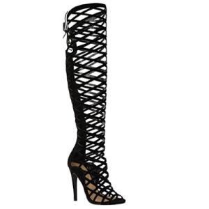 Mve chaussures haut de cuisse de la femme Stretch Snug Bottes talon bloc