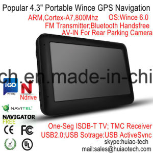 """Venda mais populares de TFT 4,3"""" Carro elevador com navegação GPS Marinhos de Wince 6.0 CPU de 800 MHz, o transmissor FM, entrada AV-in para câmara de estacionamento, o dispositivo do sistema de rastreamento do Navegador GPS"""