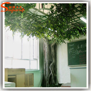 Decoração planta artificial de plástico Ficus Banyan Tree