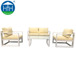 Wholesales Mobiliário de Jardim Pátio grande capacidade de carga Sofá exterior branco de alumínio