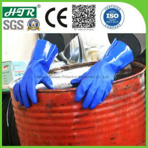 Revestido de PVC produtos químicos industriais resistentes a borracha de segurança luvas de trabalho com malha de algodão guarnições perfeita