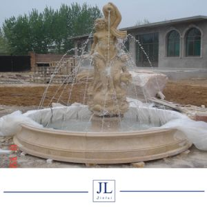 庭Surroundings Decorationのための装飾White YellowかBeige Marble Custom Carved Stone Water Fountain