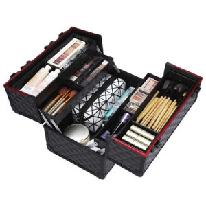 Cuadro de profesionales de belleza de aluminio portátil organizador de viajes Caja Makep