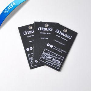 직업 실크에 의하여 인쇄되는 백색 로고를 가진 까만 Papercard 걸림새 꼬리표