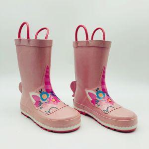 Unicornio rosa al aire libre para niños botas botas de goma resistente al agua de lluvia