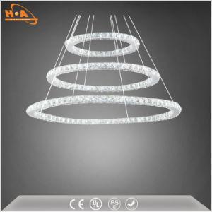 Los tres anillos de la Ronda de Cristal de luz LED lámpara de araña de Comedor