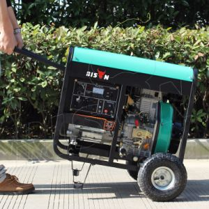 バイソン((h) 5kw 5kVA中国) BS6500dceの単一フェーズのAir-Cooled世帯の小さいポータブル5000wattの無声5kvディーゼル発電機