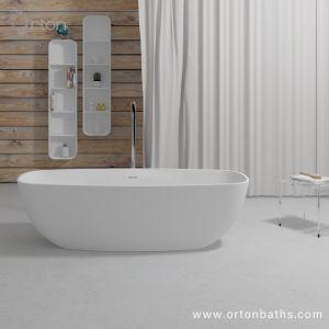 標準新しい卵形のアクリル樹脂の鋳造の浴槽の固体表面の人工的な石造りの浴室の浴槽