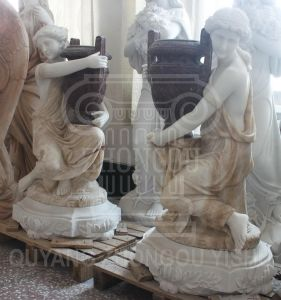 een paar Beeldhouwwerk van het Standbeeld van de Decoratie van Dame Holding Vase Figure Stone het Marmeren Tuin