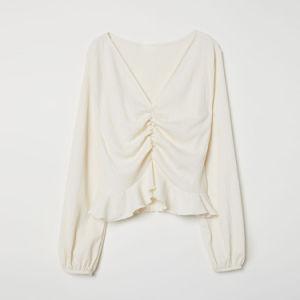 Las mujeres con cuello en V con elásticos reunir Long Sleeve lujos recortar la parte superior de la moda blusa