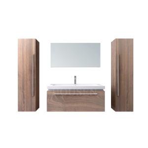 Novo Design de Classe moderno mobiliário de banho de madeira armário de banheiro toucador com espelho de LED