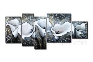 5 panneaux de paroi de l'huile de fleurs à la main peinture décorative