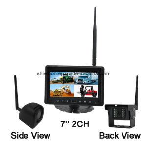 Inalámbrica 2.4G LCD 7 pulgadas de pantalla dividida Monitor de vista trasera del coche