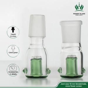Tubo de agua recipiente de vidrio verde con pantalla de nido de abeja masculino femenino 14mm 18mm