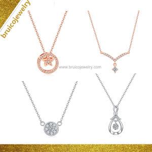Bridal Sterling Silver/Gold Diamond Necklace Ring Earring bijoux Set Mode bijoux Set pour l'anniversaire de mariage