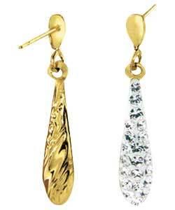 orecchino dell'oro giallo 10K con la pietra preziosa