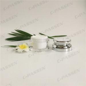 化粧品の包装のためのAlumiteの帽子が付いている50g真珠の白いアクリルのクリーム色の瓶(PPC-ACJ-090)