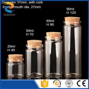 Botella de vidrio de borosilicato de alta hecho personalizado con el corcho Cimp cuello