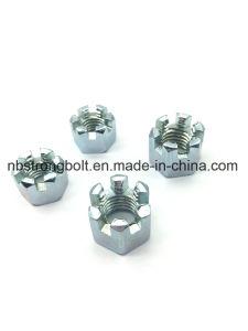 DIN935 l'écrou crénelé hexagonal avec le blanc de zinc Palted Cr3+ M12