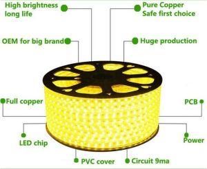 Striscia impermeabile eccellente 100m/roll di Brigh 110V/220V LED