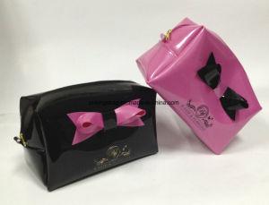 PVC brillant FASHION BEAUTÉ Mesdames Sacs cosmétiques avec Bow