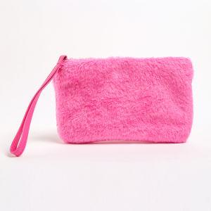 Mignon drôle Pochette Sac Pochette de maquillage petit sentir confortable fausse fourrure de couleur rose Sac cosmétique