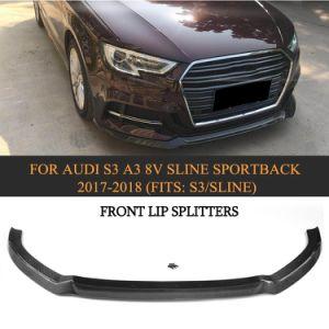 Paragolpes delantero de fibra de carbono para labios Audi S3 A3 Sportback 2017-2018 Sline 8V.