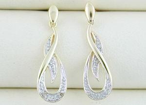 orecchino dell'oro giallo 10K con il diamante (LED1013)