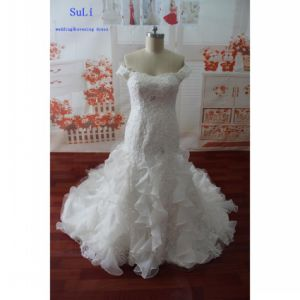 Beading Appliques Real Photo Short Sleeve Wedding Dress (WDZ60)
