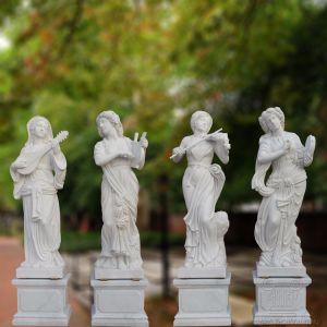 Het witte Marmeren Beeldhouwwerk van het Standbeeld van de Steen van Van de vier seizoenen