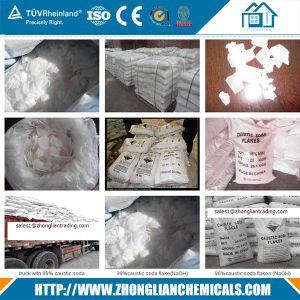 Alkali van de Bijtende Soda van het Sneeuwwitje van de Zuiverheid van 99% Min in de Vorm van de Parels van de Vlok