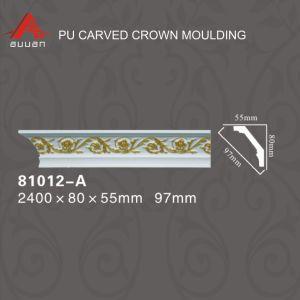 81217-un n° de gros de plafond en polyuréthane de couleur dorée Corniche Moulure décorative