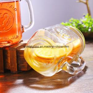 ハンドルのふたおよびわらが付いている試供品の石大工のガラス飲む瓶