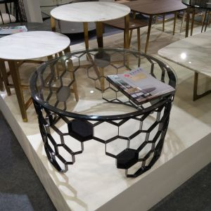 Mobiliário de aço inoxidável mesas de café em vidro