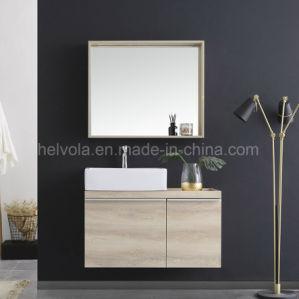 Gesundheitlicher Ware-Wäsche-Bassin-Badezimmer-Eitelkeits-Badezimmer-festes Holz Kurbelgehäuse-BelüftungMDF mit Spiegel-Edelstahl-Möbel-Badezimmer-Schrank
