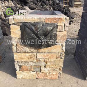 文字のBloxのコラムのBloxの石造りのポストのゲートの柱のための黄色いスレートの棚の石