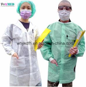 O trabalho de laboratório descartáveis prensa/cubra, descartáveis em polipropileno microporosa//SMS/Nonwoven/PP/SBPP/PE/CPE visitante/medical/médico/paciente/exame/blusas/frock Lab Coat