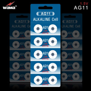 Batteria alcalina AG11 1.5V delle cellule del tasto dal fornitore di Wama